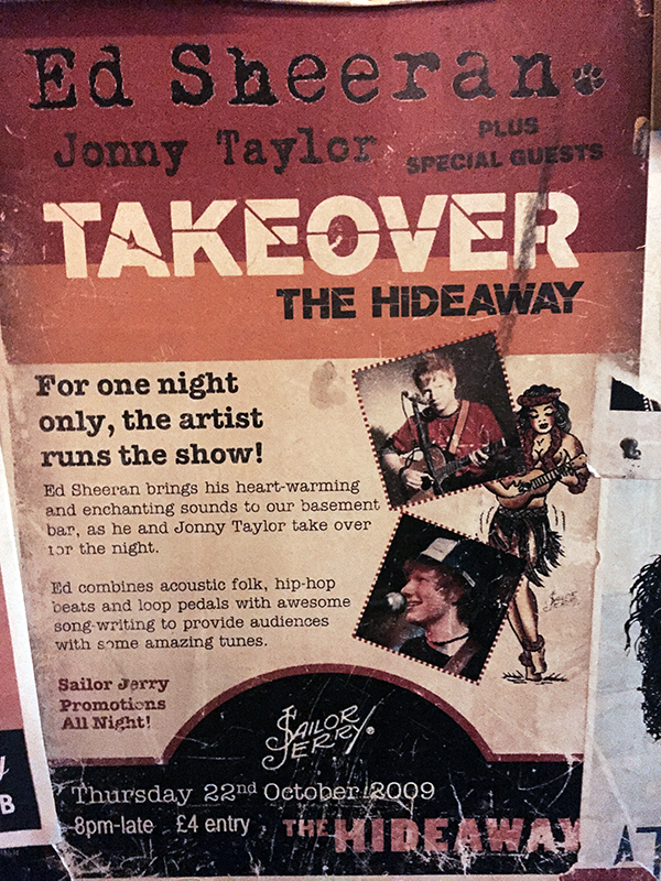 Vintage Ed Sheeran Flyer at the The Hideaway Bar Camden