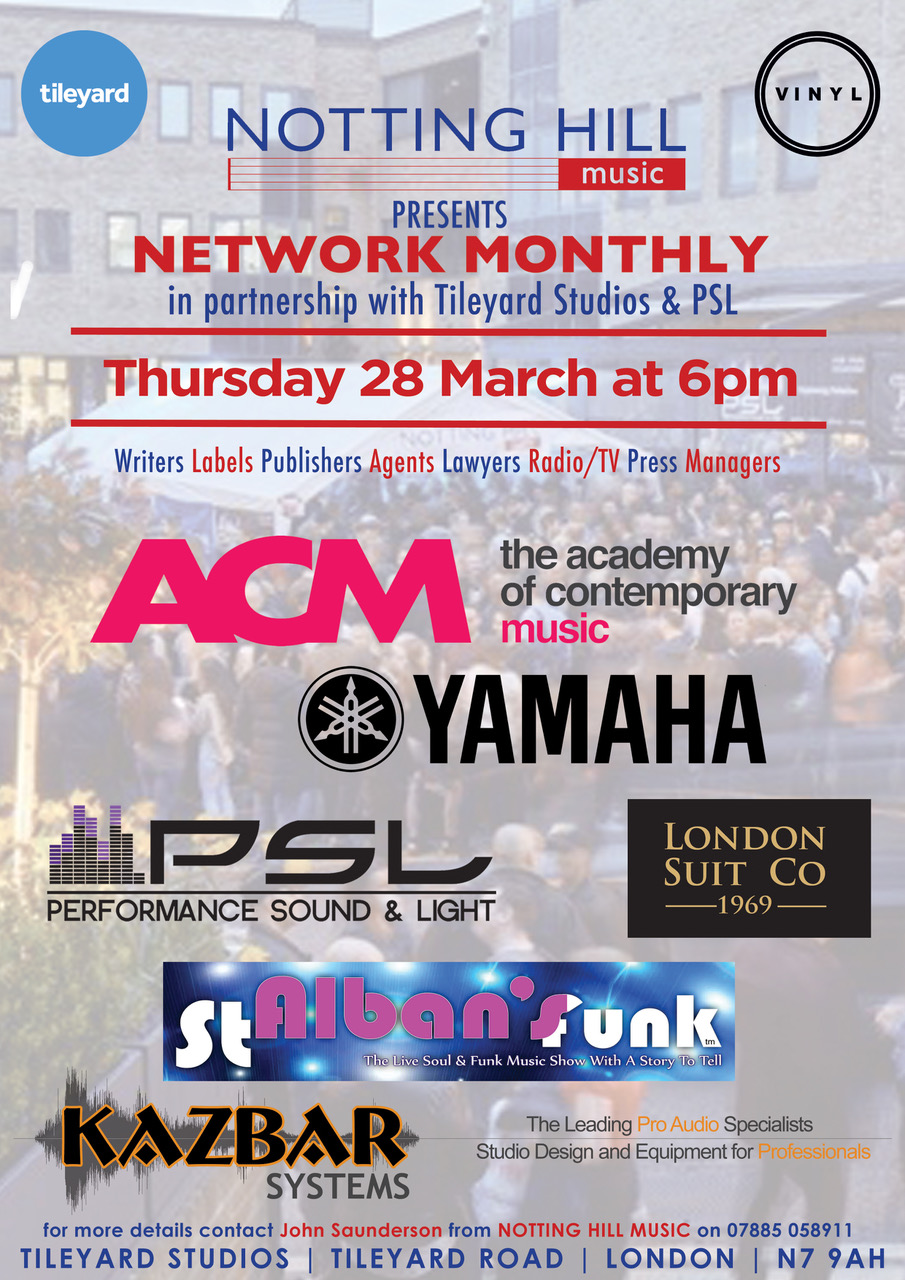 Kazbar Sponsor March Notting Hill Music Networking Night March 28th Tileyard Studios