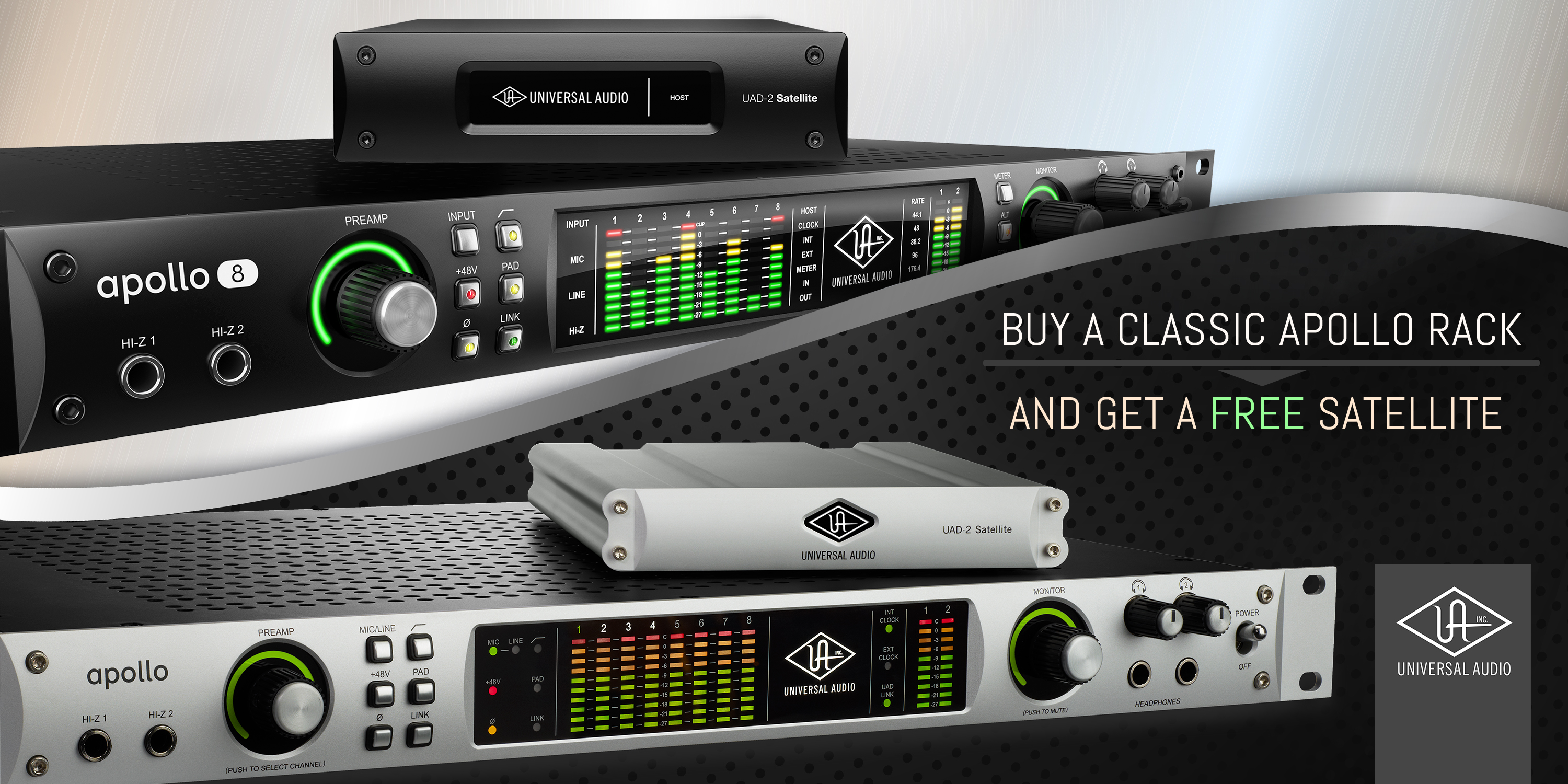 Buy an Apollo 8 QUAD or Apollo FireWire and Turbo-Charge it with a FREE UAD-2 QUAD Satellite DSP Accelerator!
